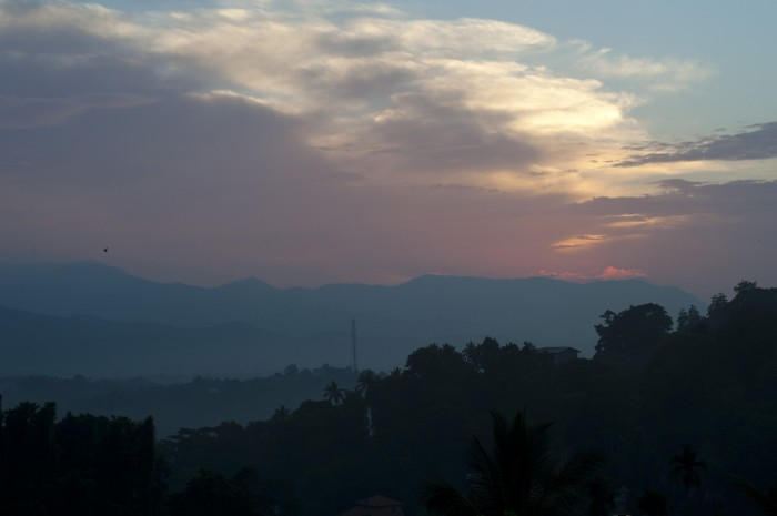 The sunrise from our hotel room in Kandy